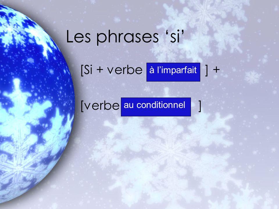 Les phrases 'si' [Si + verbe ] + [verbe ] à l'imparfait